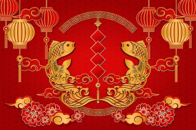 Frohes chinesisches neujahrsgold-relieffischwolkenwellenlaternen-frühlingspaar und spiralförmiger runder gitterrahmen