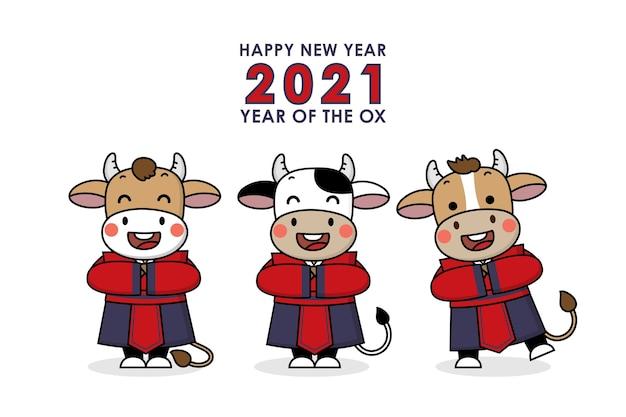 Frohes chinesisches neujahrsgruß. ochsen tierkreis.