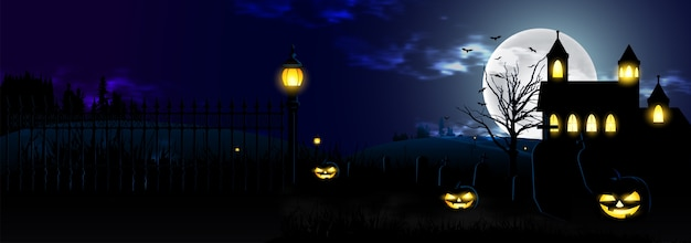 Frohes halloween-nachtszenenbanner