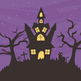 Frohes halloween, schlosskatze trockene bäume trick oder behandeln partyfeiervektorillustration