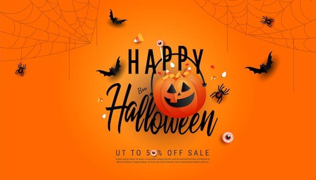 Frohes halloween-verkaufsfahnenschablone. halloween kürbisse und fliegende fledermäuse