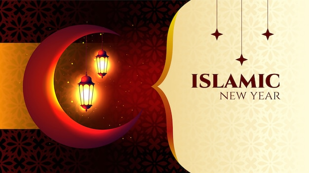 Frohes islamisches neues jahr mit mondschablone