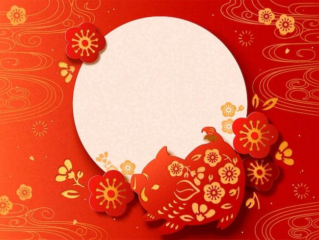 Frohes japanisches neujahrsplakat mit wildschwein im scherenschnitt-stil