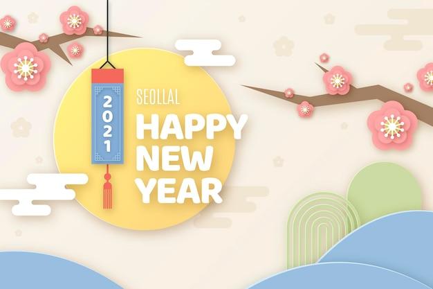 Frohes koreanisches neujahr im papierstil