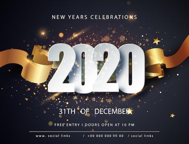 Frohes neues 2020 jahr. winterurlaub grußkartenvorlage. weihnachts- und neujahrsplakate. frohes neues jahr dunkel festlich