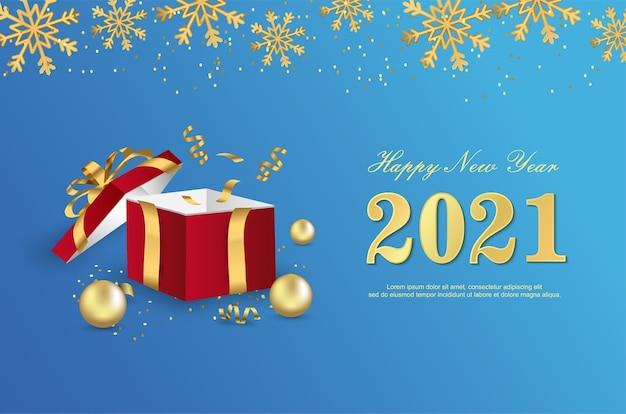 Frohes neues 2021 jahr mit geschenkboxhintergrund.