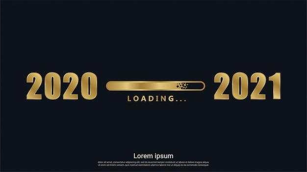 Frohes neues 2021 jahr mit goldladehintergrund