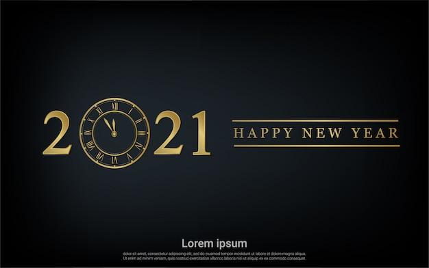 Frohes neues 2021 jahr mit golduhrhintergrund