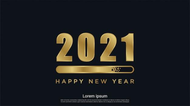Frohes neues 2021 jahr mit ladehintergrund