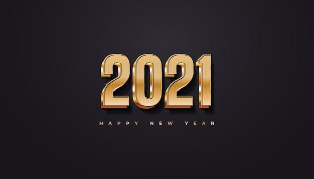 Frohes neues 2021 jahre banner mit schwarz-gold-konzept