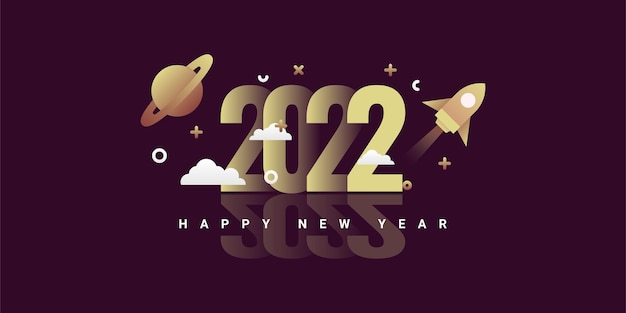 Frohes neues 2022 illustrationsvorlagendesign