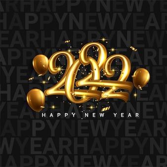 Frohes neues 2022-jahr. feiertagsvektorillustration der goldenen metallischen zahlen 2022