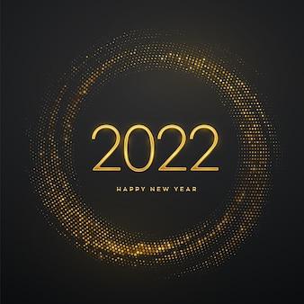 Frohes neues 2022-jahr. goldene metallische luxuszahlen 2022 auf schimmerndem hintergrund. realistisches zeichen für grußkarten. platzende kulisse mit glitzer. festliches poster oder banner. vektor-illustration.
