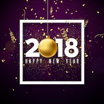Frohes neues jahr 2018 illustration mit weißer nummer und zierkugel auf glänzend konfetti hintergrund