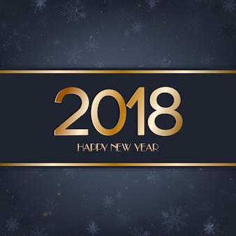 Frohes neues jahr 2018 mit lichtern, bokeh, schneeflocken auf dunkelblauem hintergrund
