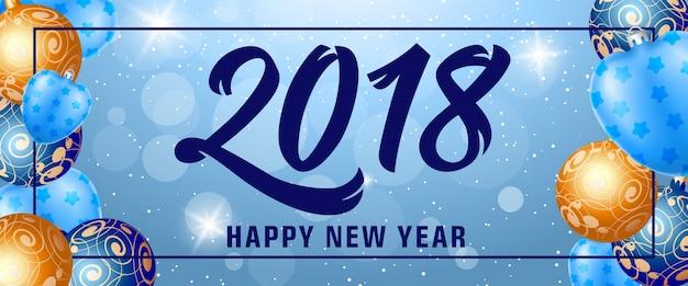 Frohes neues jahr 2018 schriftzug im rahmen