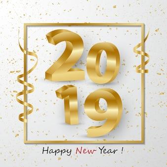 Frohes neues Jahr 2019 3D goldene Zahlen