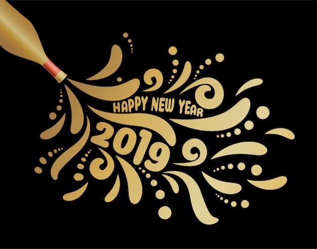 Frohes neues jahr 2019, abstrakter champagnerentwurf.