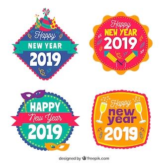 Frohes neues jahr 2019 abzeichen sammlung