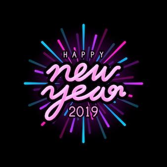 Frohes neues jahr 2019 abzeichen vektor
