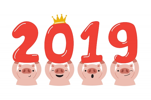 Frohes neues jahr 2019 der vektorkarikatur des schweins