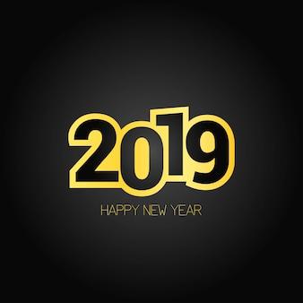 Frohes neues jahr 2019 design mit dunklem hintergrund