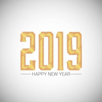 Frohes neues jahr 2019 design mit weißem hintergrund