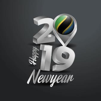 Frohes neues Jahr 2019 graue Typografie