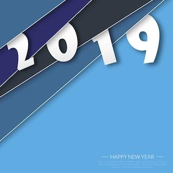 Frohes neues Jahr 2019. Grußkarte. Bunter Entwurf.