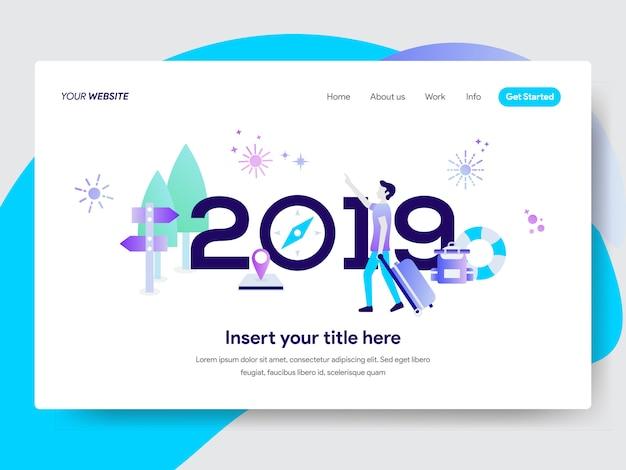 Frohes neues jahr 2019 illustration für die homepage