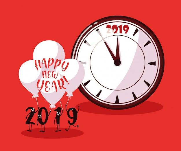 Frohes neues jahr 2019 kawaii charakter