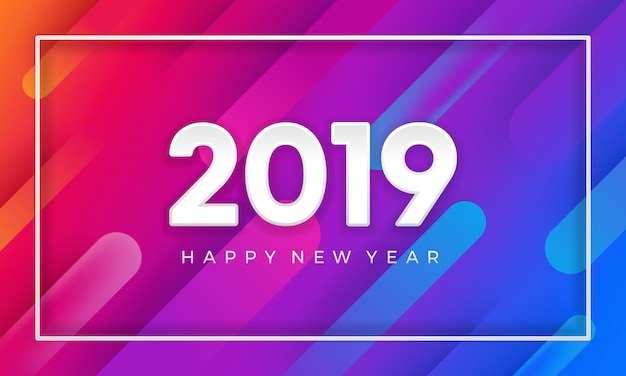 Frohes neues jahr 2019 mit dynamischem farbvektorhintergrund.