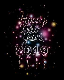 Frohes neues jahr 2019 schriftzug mit lichtern