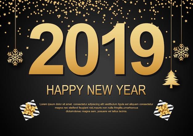 Frohes neues jahr 2019 schwarzer hintergrund