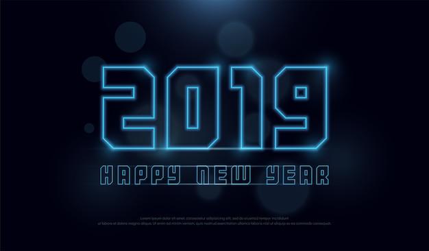 Frohes neues jahr 2019 technologie neon strich strichschrift