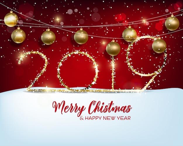 Frohes neues jahr 2019 und frohe weihnachten