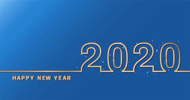 Frohes neues jahr 2020 auf blauem hintergrund