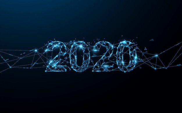 Frohes neues jahr 2020 banner bilden linien, dreiecke und partikel-stil. illustration