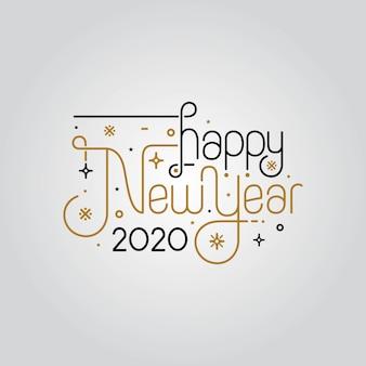 Frohes neues jahr 2020 elegante grußkarte