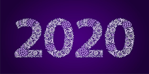 Frohes neues jahr 2020. ethnische blumenornament. ukrainischer traditioneller stil.