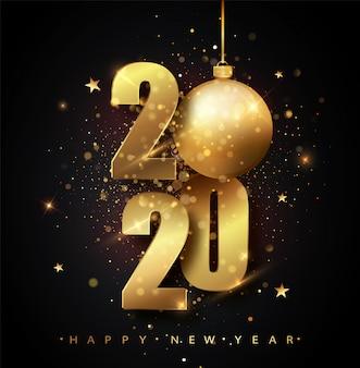 Frohes neues jahr 2020. feiertag von goldenen metallischen zahlen 2020. goldzahlen der grußkarte von fallenden glänzenden konfettis. neujahrs- und weihnachtsposter.