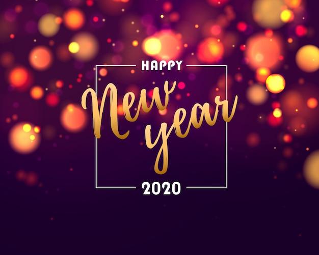 Frohes neues jahr 2020. festliche lila, blau, goldene lichter.