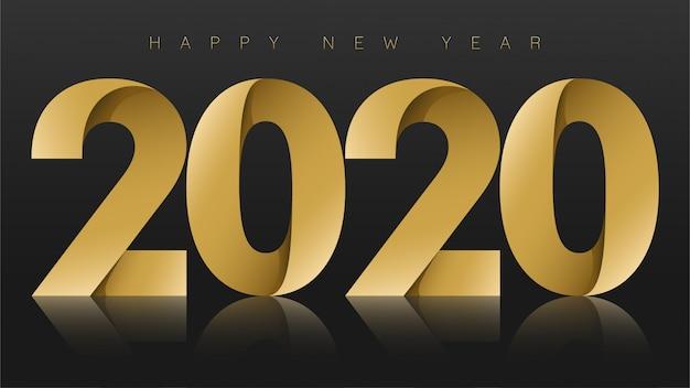 Frohes neues jahr 2020, gold auf schwarz