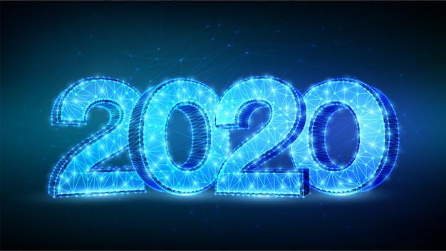 Frohes neues jahr 2020 grußkarte. geometrische niedrige polygonale 2020-zahlen.