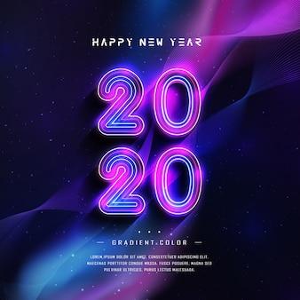 Frohes neues jahr 2020 grußkarte mit farbverlauf neon-effekt