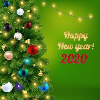 Frohes neues jahr 2020 grußkarte mit weihnachtsbaum