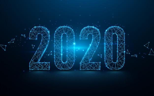Frohes neues jahr 2020 hintergrund mit banner linien und partikeln