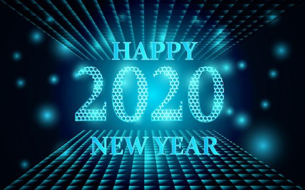 Frohes neues jahr 2020 hintergrund mit leuchtenden formen