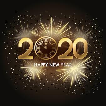 Frohes neues jahr 2020 karte mit nummer und uhr