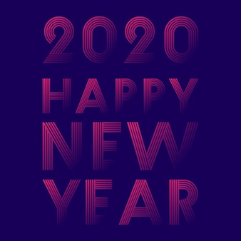 Frohes neues jahr 2020 liniendesign